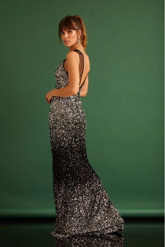 Black sequined maxi sleeveless dress