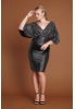 Silver plus size sequined mini short sleeve dress