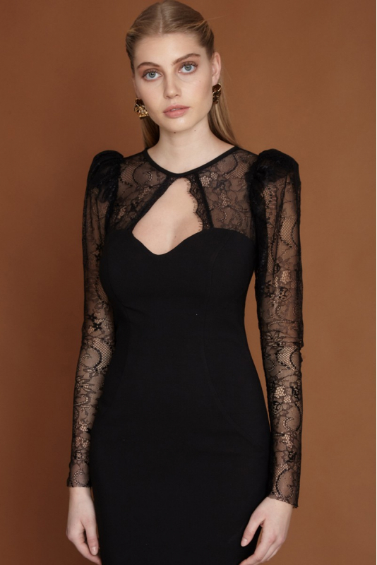 Black crepe midi long sleeve dress
