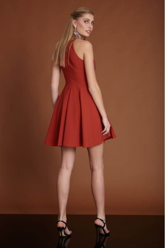 Ginger crepe mini sleeveless dress