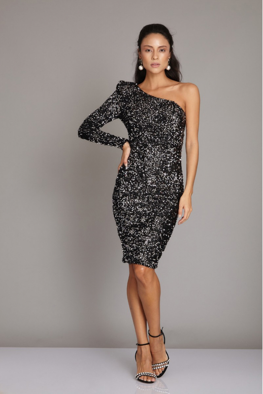 Silver sequined mini dress
