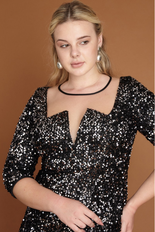 Silver plus size sequined short sleeve mini dress