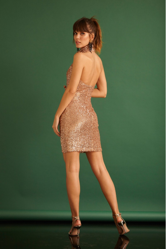 Copper sequined sleeveless mini dress