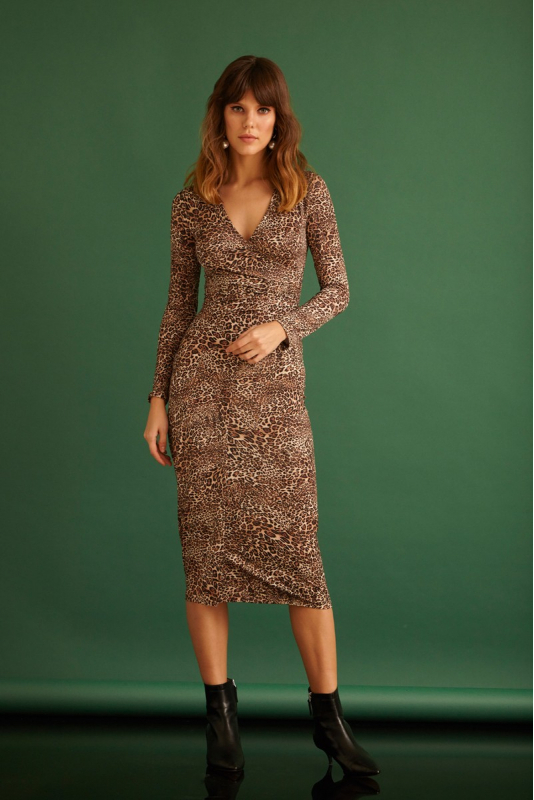 Gold knitted midi long sleeve dress