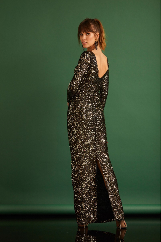 Gold sequined long sleeve maxi dress