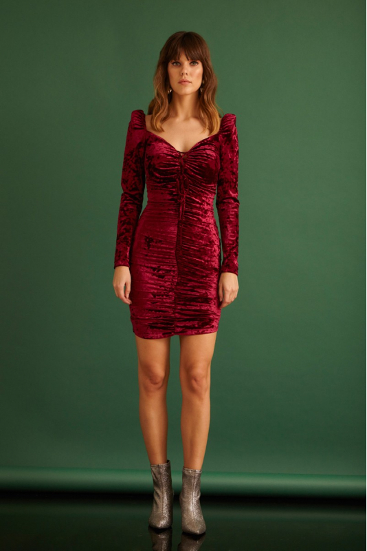 Claret red velvet mini long sleeve dress