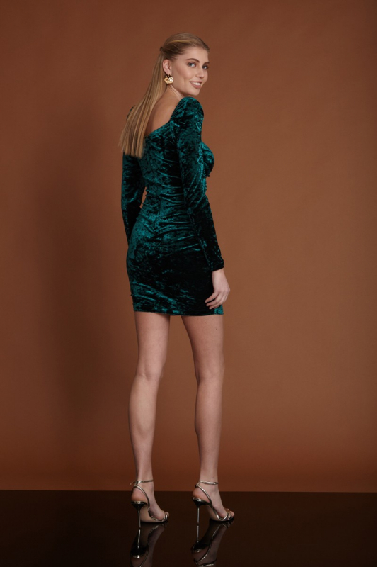 Dark green velvet mini long sleeve dress