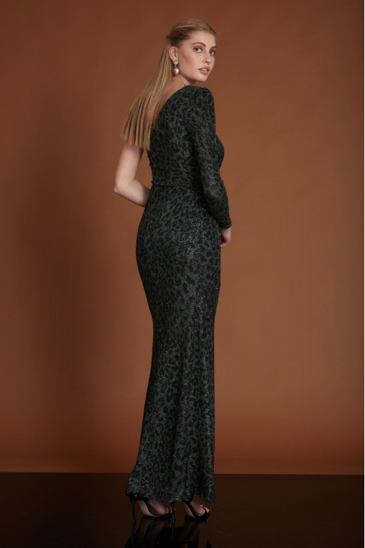 Dark green sequined maxi dress