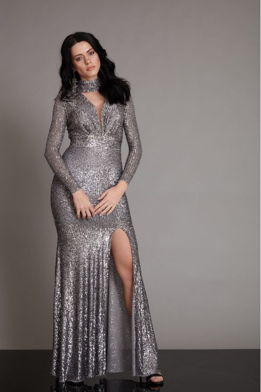 Silver sequined long sleeve maxi dress