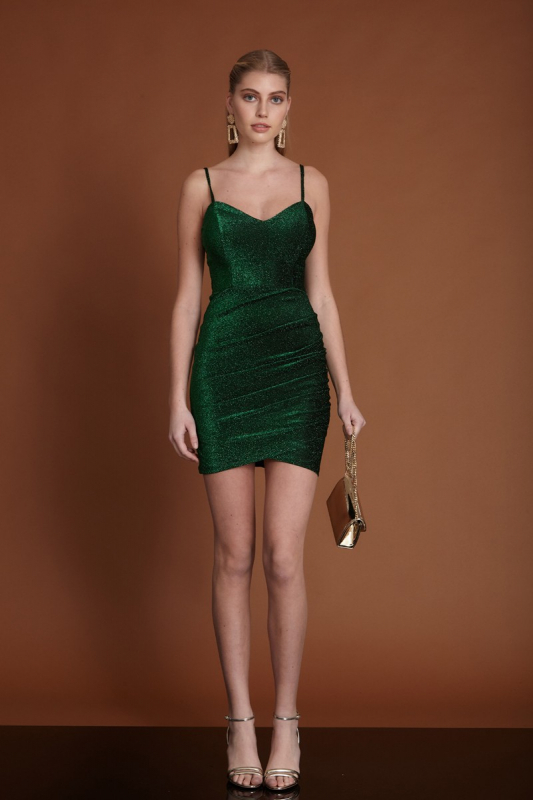 Dark green knitted mini sleeveless dress
