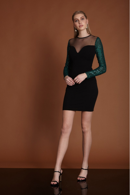 Dark green woven long sleeve mini dress