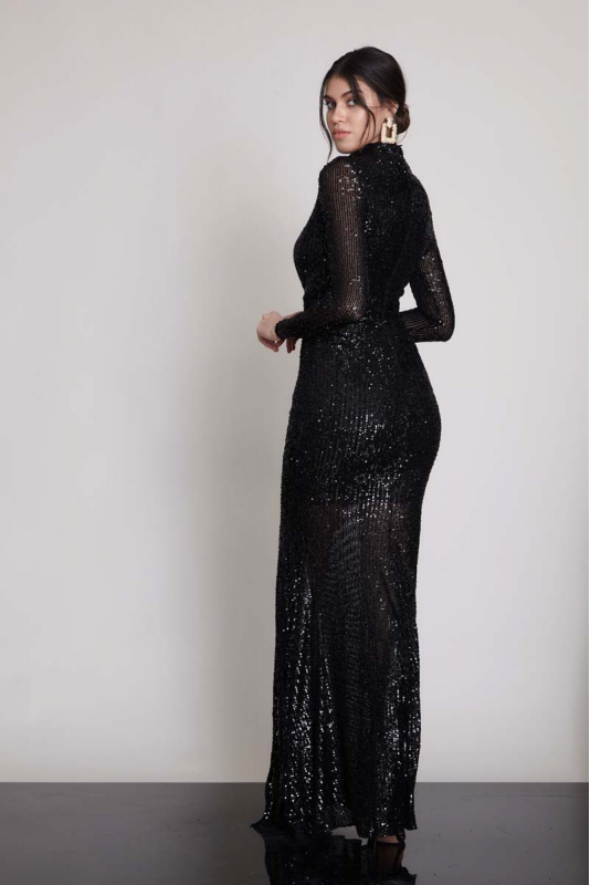 Black sequined long sleeve maxi dress