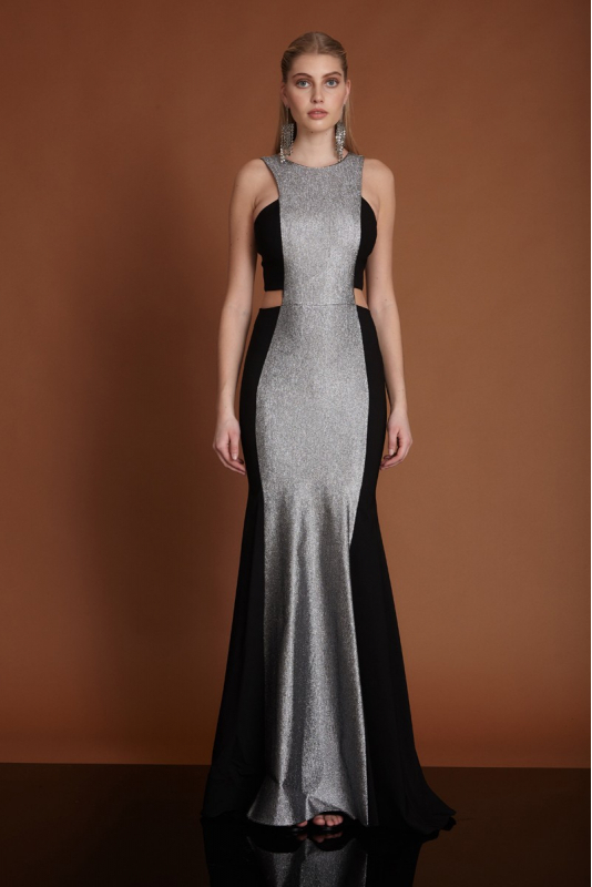 Golden silver crepe sleeveless maxi dress