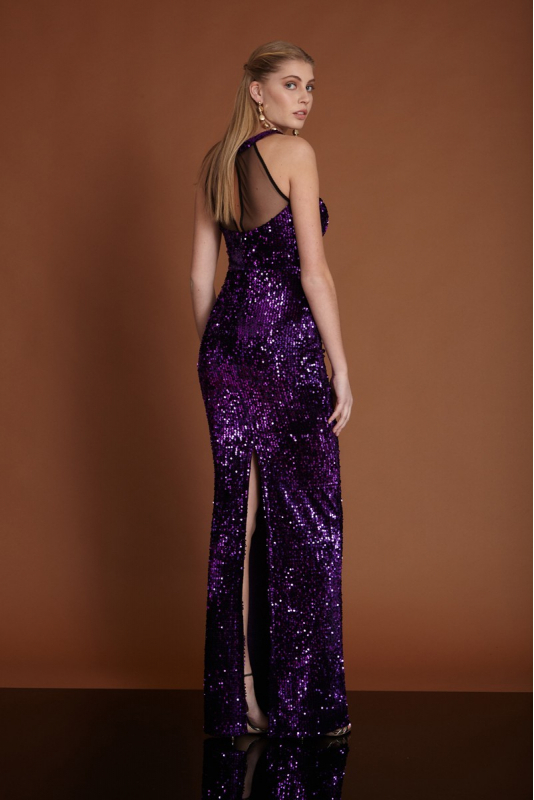 Purple velvet maxi sleeveless dress