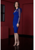Sax crepe midi long sleeve dress