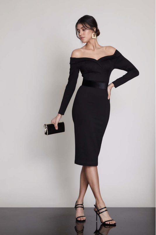 Black woven long sleeve midi dress