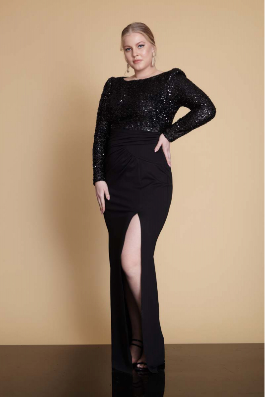 Wholesale Black plus size sequined long sleeve maxi dress - Fervente