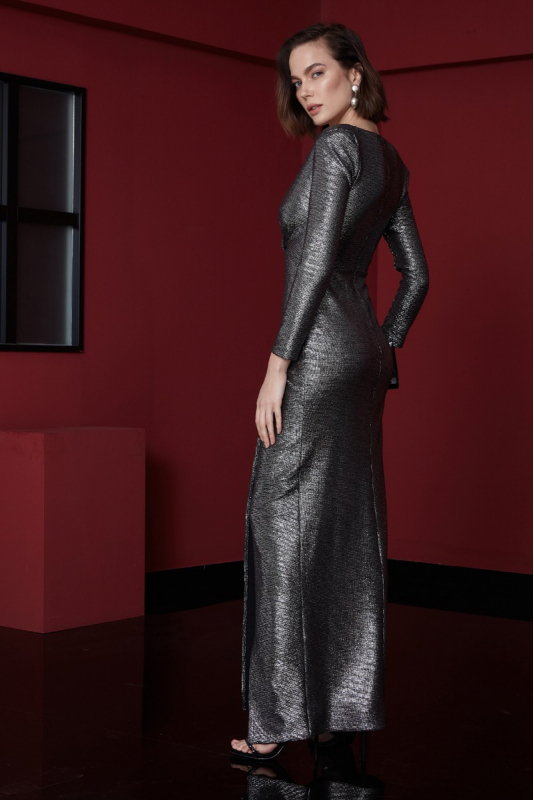 sequined long sleeve maxi dress