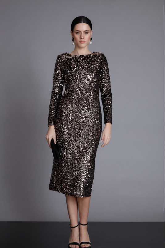Gold sequin sequined midi long sleeve dress