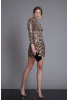 Leopard sequined mini long sleeve dress
