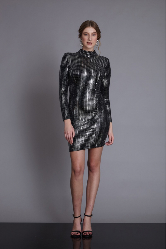 Mirrored silver sequined long sleeve mini dress