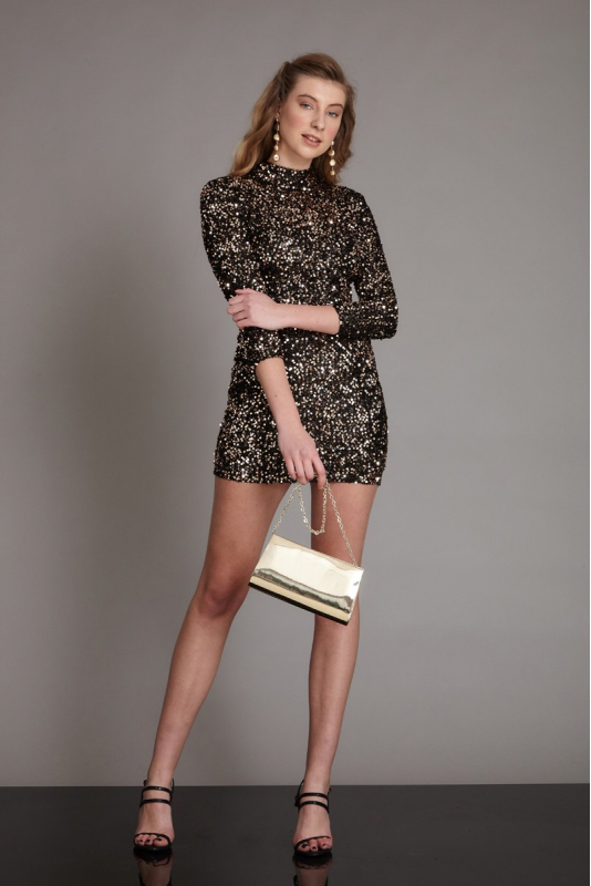Gold sequin sequined long sleeve mini dress