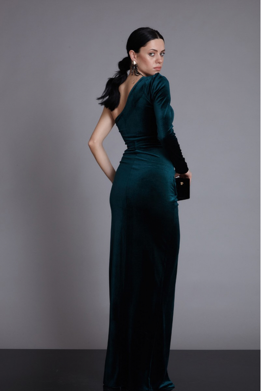Dark green velvet maxi long sleeve dress