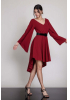 Claret red woven midi long sleeve dress