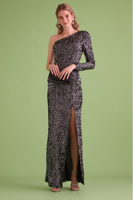 Silver sequin sequined maxi dress