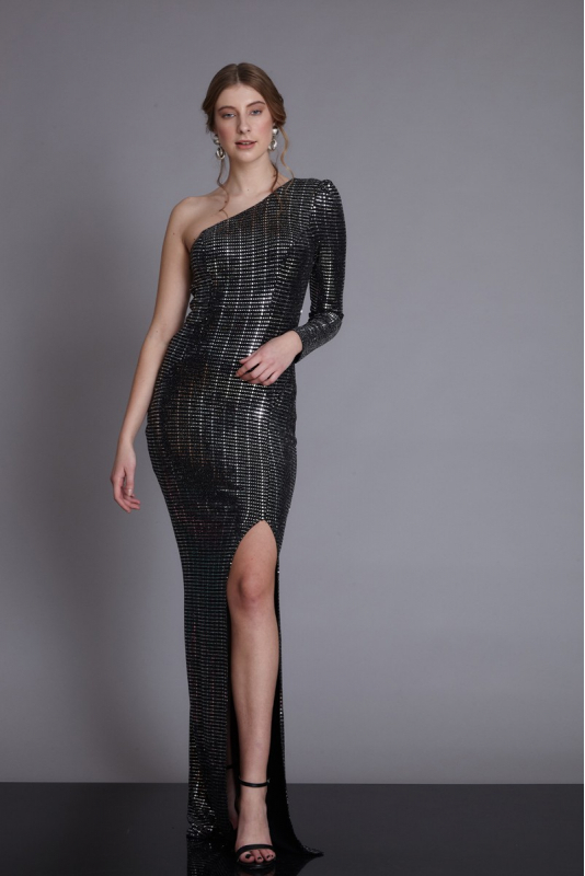 Mirrored silver sequined maxi dress