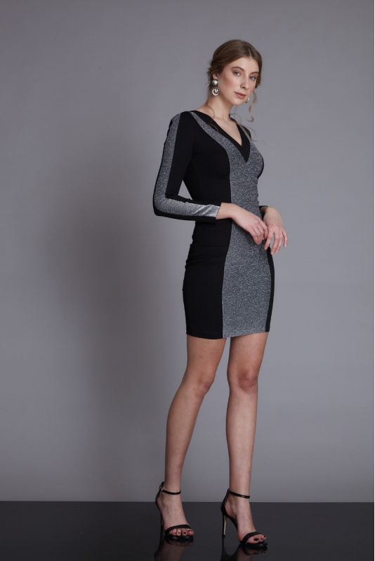 Black knitted mini long sleeve dress