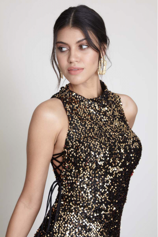 Gold sequin sequined sleeveless midi dress