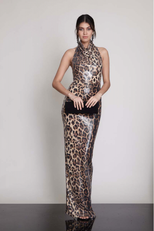 Leopard sequined sleeveless maxi dress