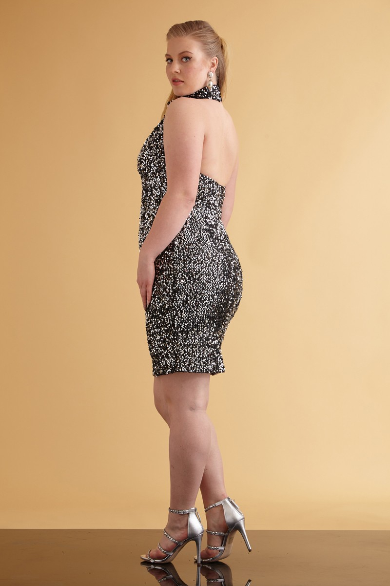 Silver sequin plus size sequined sleeveless mini dress