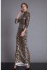 Leopard sequined long sleeve maxi dress