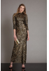 Gold sequin sequined long sleeve maxi dress
