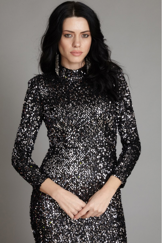Silver sequin sequined long sleeve maxi dress