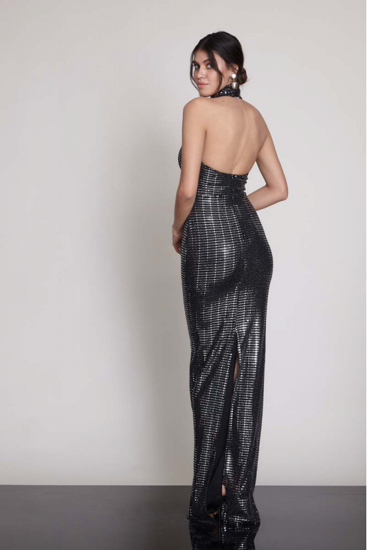 Mirrored silver sequined sleeveless maxi dress
