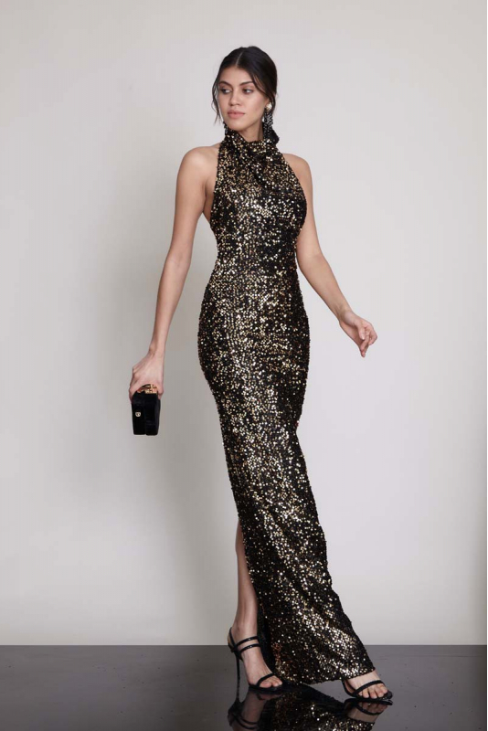 Gold sequin sequined sleeveless maxi dress