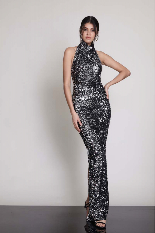 Silver sequin sequined sleeveless maxi dress