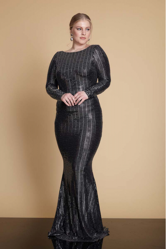 Wholesale Mirrored silver plus size sequined long sleeve maxi dress  961501-Z90 - Fervente