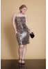 Leopard plus size sequined mini sleeveless dress