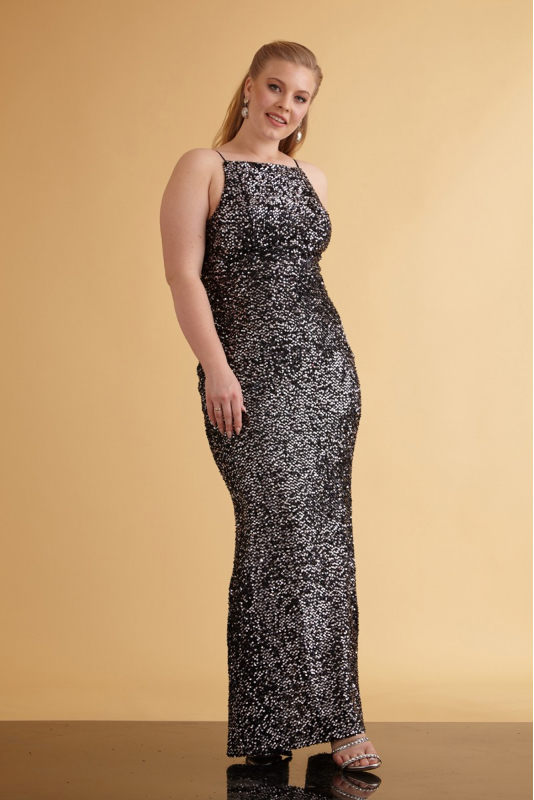 Wholesale Silver sequin plus size sequined sleeveless maxi dress - Fervente