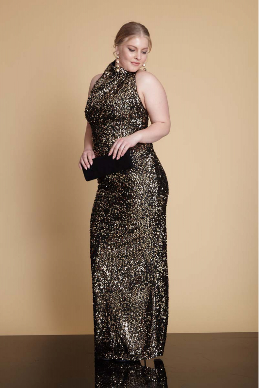 Wholesale Gold sequin plus size sequined sleeveless maxi dress 961497-Z93 -  Fervente