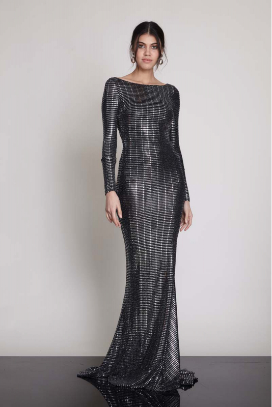 Mirrored silver sequined long sleeve maxi dress