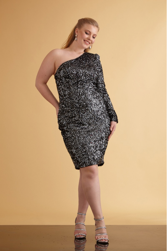 Silver sequin plus size sequined mini dress