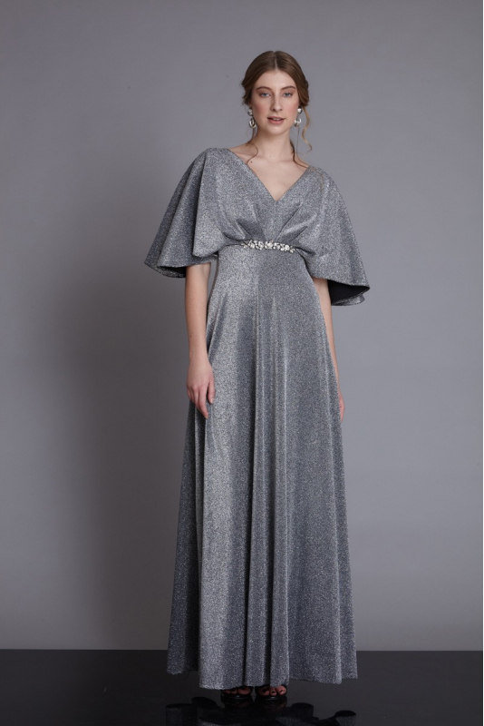 Silver knitted maxi short sleeve dress