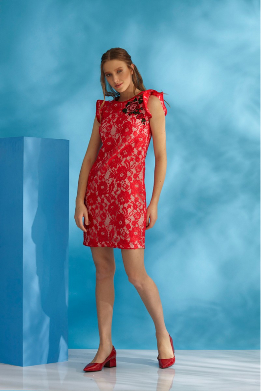 Red lace sleeveless mini dress