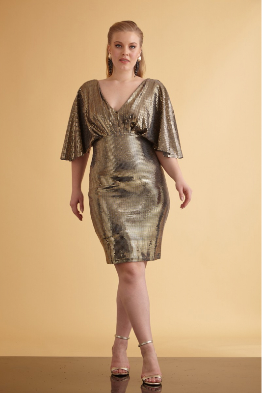 Wholesale Mirrored gold plus size sequined short sleeve mini dress -  Fervente