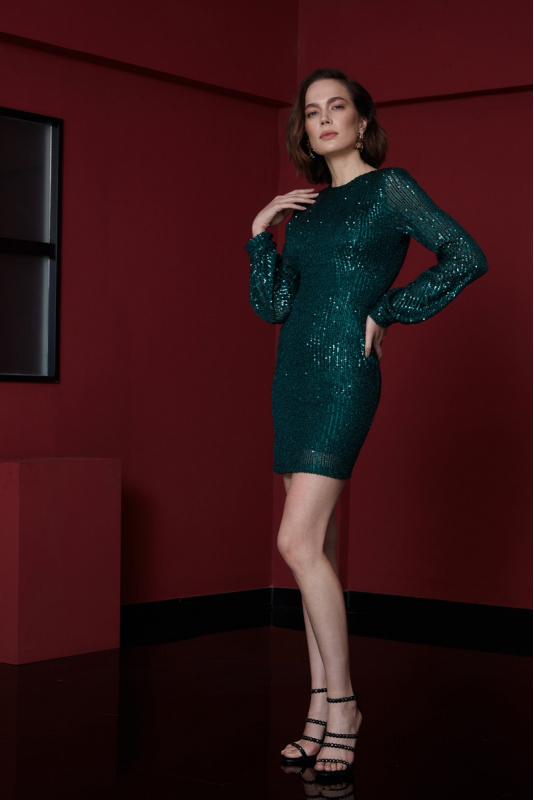 Dark green sequined long sleeve mini dress